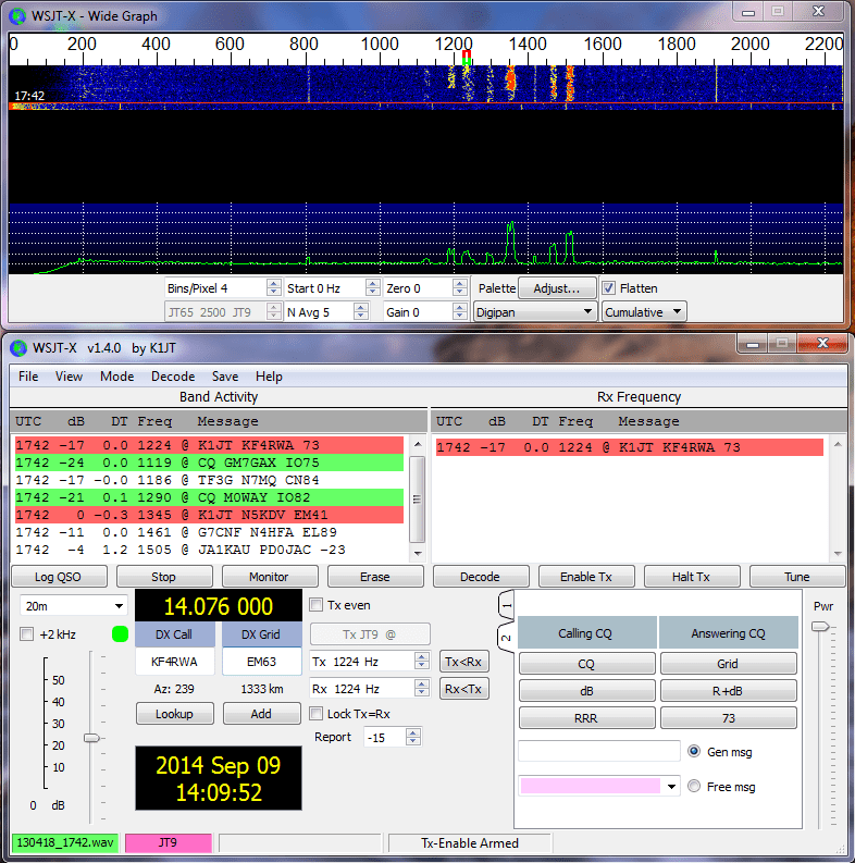 An updated version 2.0.1 of WSJT-X has been released.